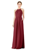 Bridesmaid Dress Emma Long Sheath High Neck Halter Chiffon Burgundy Bridesmaid Dress Floor Length Keyhole Sleeveless 174018