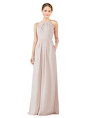 Bridesmaid Dress Emma Long Sheath High Neck Halter Chiffon Cream Pink Bridesmaid Dress Floor Length Keyhole Sleeveless 174018