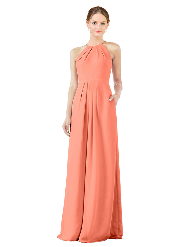 Bridesmaid Dress Emma Long Sheath High Neck Halter Chiffon Coral Bridesmaid Dress Floor Length Keyhole Sleeveless 174018