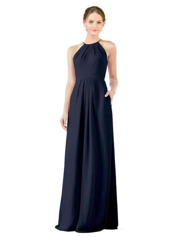 Bridesmaid Dress Emma Long Sheath High Neck Halter Chiffon Dark Navy Bridesmaid Dress Floor Length Keyhole Sleeveless 174018