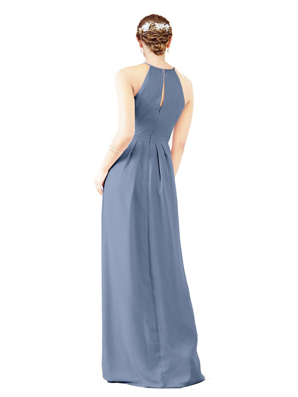Bridesmaid Dress Emma Long Sheath High Neck Halter Chiffon Dusty Blue Bridesmaid Dress Floor Length Keyhole Sleeveless 174018