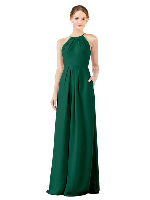 Bridesmaid Dress Emma Long Sheath High Neck Halter Chiffon Ever Green Bridesmaid Dress Floor Length Keyhole Sleeveless 174018
