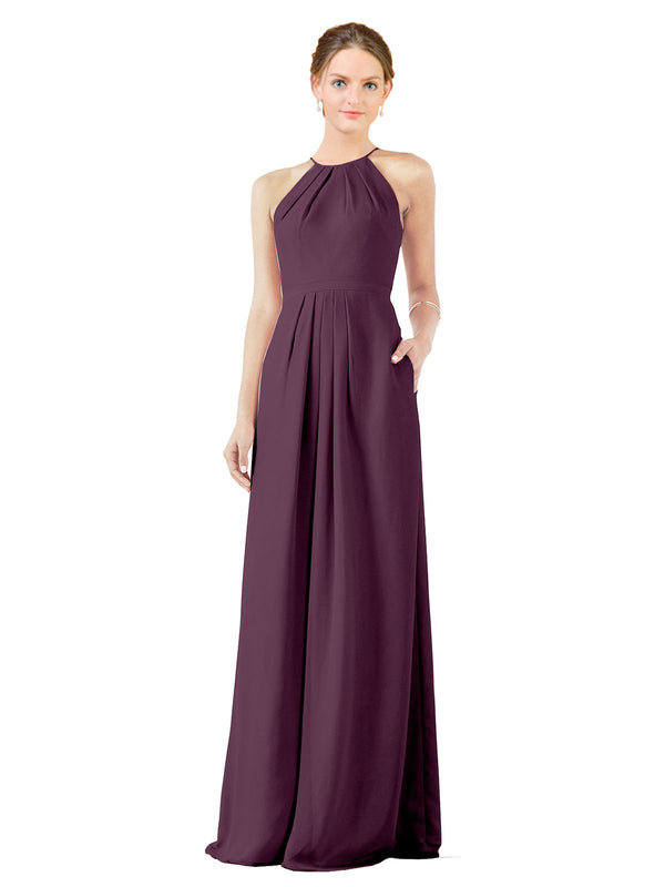 Bridesmaid Dress Emma Long Sheath High Neck Halter Chiffon Grape Bridesmaid Dress Floor Length Keyhole Sleeveless 174018