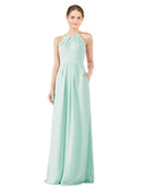 Bridesmaid Dress Emma Long Sheath High Neck Halter Chiffon Mint Green Bridesmaid Dress Floor Length Keyhole Sleeveless 174018
