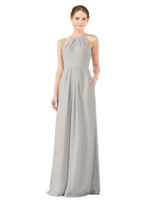 Bridesmaid Dress Emma Long Sheath High Neck Halter Chiffon Oyster Silver Bridesmaid Dress Floor Length Keyhole Sleeveless 174018