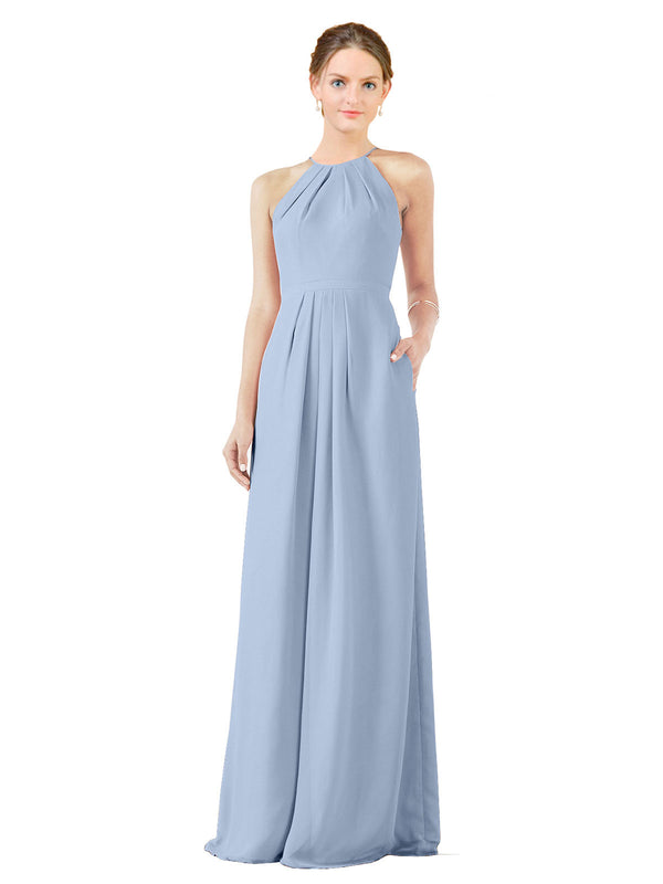 Bridesmaid Dress Emma Long Sheath High Neck Halter Chiffon Periwinkle Bridesmaid Dress Floor Length Keyhole Sleeveless 174018