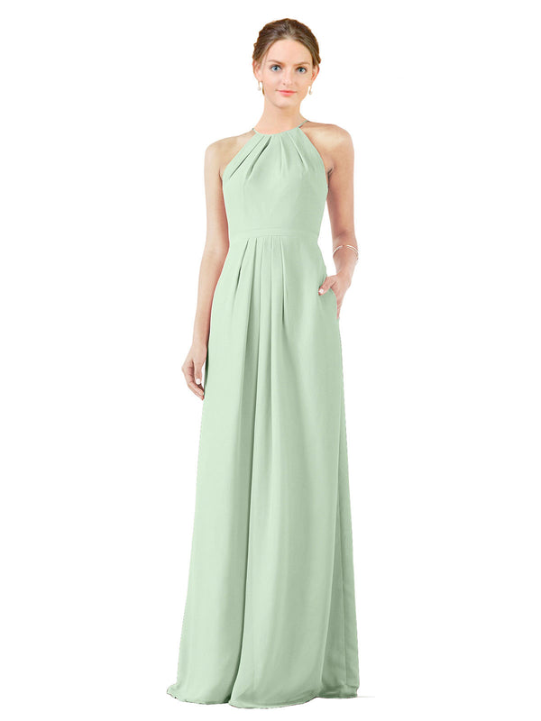Bridesmaid Dress Emma Long Sheath High Neck Halter Chiffon Sage Bridesmaid Dress Floor Length Keyhole Sleeveless 174018