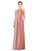 Bridesmaid Dress Emma Long Sheath High Neck Halter Chiffon Salmon Bridesmaid Dress Floor Length Keyhole Sleeveless 174018