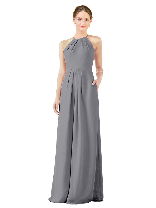 Bridesmaid Dress Emma Long Sheath High Neck Halter Chiffon Slate Grey Bridesmaid Dress Floor Length Keyhole Sleeveless 174018