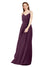 Affordable Bridesmaid Dress Charlotte Long Sheath V-Neck Chiffon Grape Bridesmaid Dress Floor Length Low Back Sleeveless 174024
