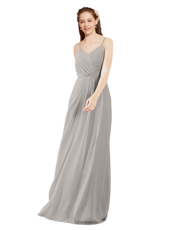 Affordable Bridesmaid Dress Charlotte Long Sheath V-Neck Chiffon Oyster Silver Bridesmaid Dress Floor Length Low Back Sleeveless 174024