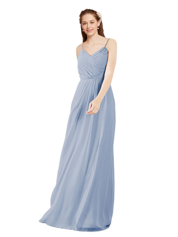 Affordable Bridesmaid Dress Charlotte Long Sheath V-Neck Chiffon Periwinkle Bridesmaid Dress Floor Length Low Back Sleeveless 174024
