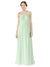 Affordable Bridesmaid Dress Amelia Long A-Line Halter Chiffon Sage Bridesmaid Dress Floor Length Sleeveless 174025