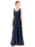 Affordable Bridesmaid Dress Evelyn Long A-Line Scoop Chiffon Dark Navy Bridesmaid Dress Floor Length Open Back Sleeveless 174026