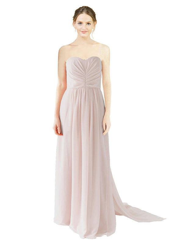 Affordable Bridesmaid Dress Emily Long A-Line Sweetheart Chiffon Cream Pink Bridesmaid Dress Floor Length Open Back Sleeveless 174028