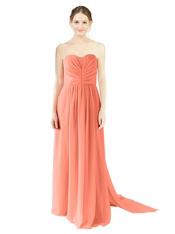 Affordable Bridesmaid Dress Emily Long A-Line Sweetheart Chiffon Coral Bridesmaid Dress Floor Length Open Back Sleeveless 174028