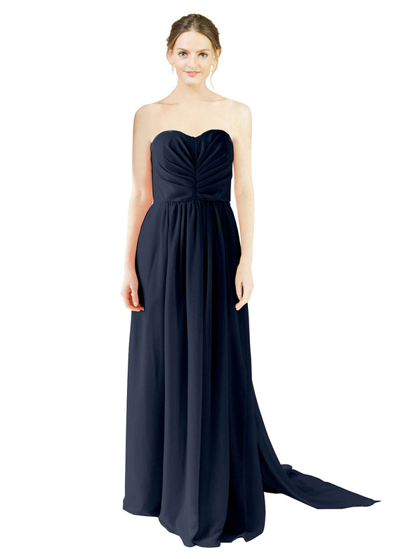 Affordable Bridesmaid Dress Emily Long A-Line Sweetheart Chiffon Dark Navy Bridesmaid Dress Floor Length Open Back Sleeveless 174028