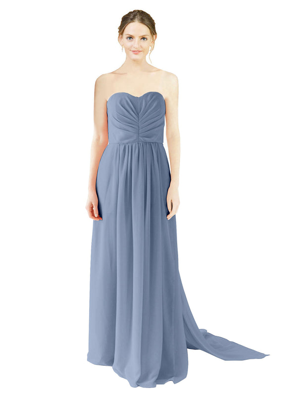 Affordable Bridesmaid Dress Emily Long A-Line Sweetheart Chiffon Dusty Blue Bridesmaid Dress Floor Length Open Back Sleeveless 174028