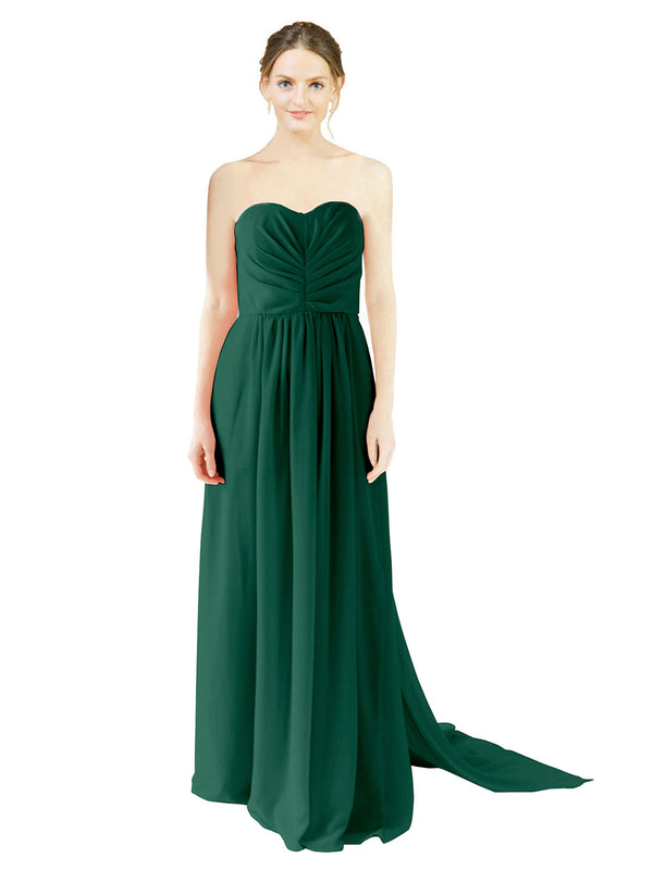Affordable Bridesmaid Dress Emily Long A-Line Sweetheart Chiffon Ever Green Bridesmaid Dress Floor Length Open Back Sleeveless 174028