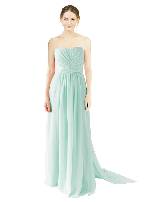 Affordable Bridesmaid Dress Emily Long A-Line Sweetheart Chiffon Mint Green Bridesmaid Dress Floor Length Open Back Sleeveless 174028