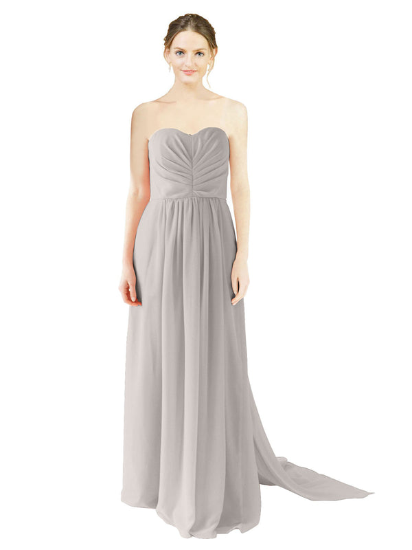 Affordable Bridesmaid Dress Emily Long A-Line Sweetheart Chiffon Oyster Silver Bridesmaid Dress Floor Length Open Back Sleeveless 174028