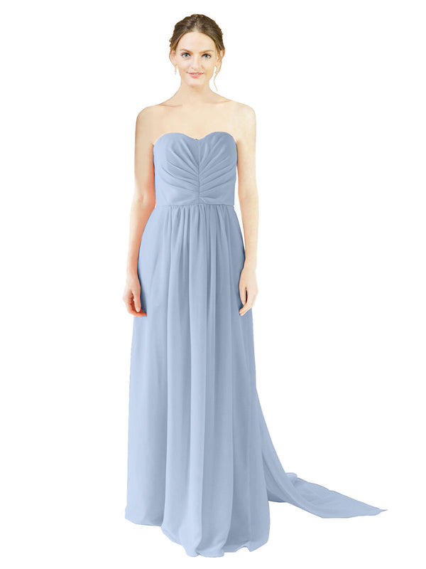 Affordable Bridesmaid Dress Emily Long A-Line Sweetheart Chiffon Periwinkle Bridesmaid Dress Floor Length Open Back Sleeveless 174028