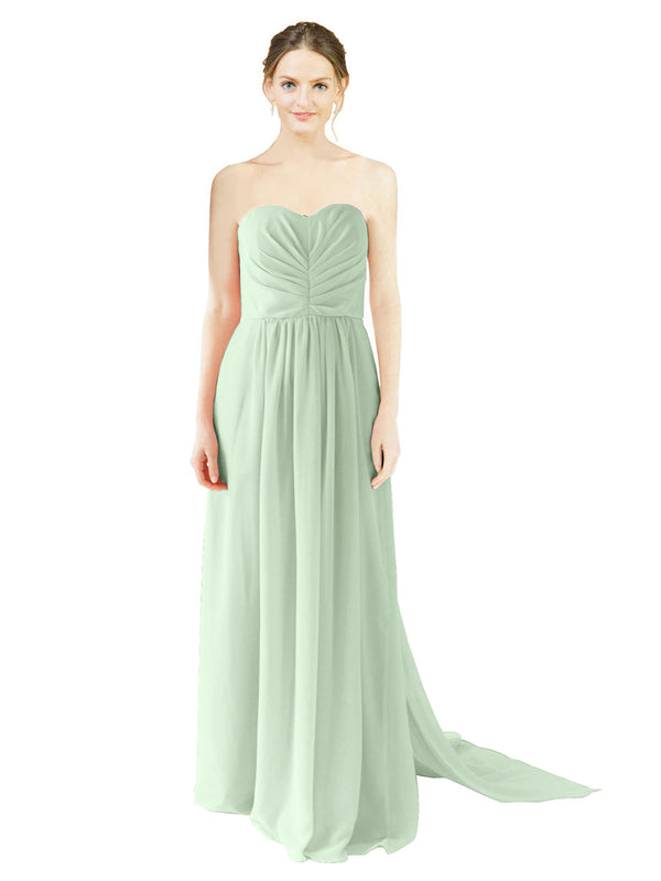 Affordable Bridesmaid Dress Emily Long A-Line Sweetheart Chiffon Sage Bridesmaid Dress Floor Length Open Back Sleeveless 174028