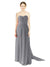 Affordable Bridesmaid Dress Emily Long A-Line Sweetheart Chiffon Slate Grey Bridesmaid Dress Floor Length Open Back Sleeveless 174028