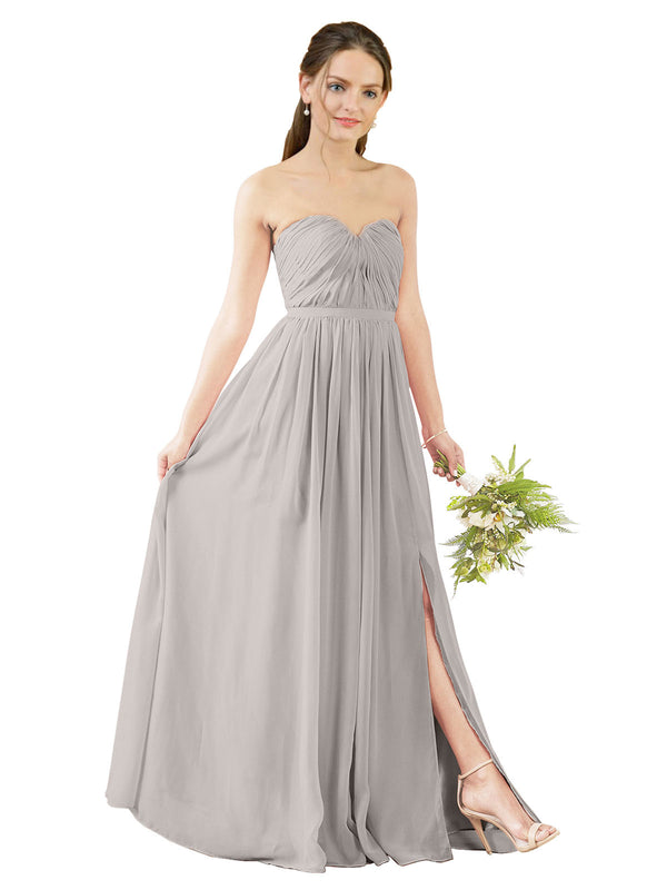 Affordable Bridesmaid Dress Elizabeth Long A-Line Sweetheart Chiffon Oyster Silver Bridesmaid Dress Floor Length Open Back Sleeveless 174029