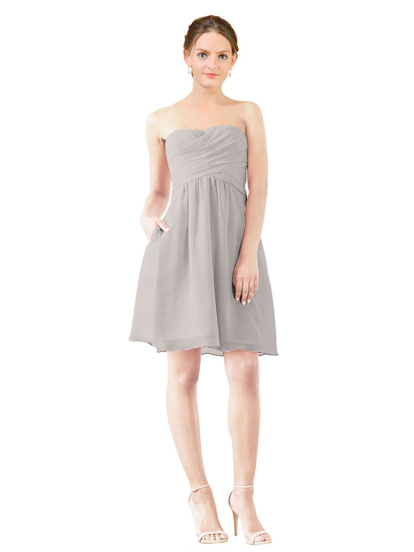 Affordable Bridesmaid Dress Avery Short A-Line Strapless Sweetheart Chiffon Oyster Silver Bridesmaid Dress Knee Length Open Back Sleeveless 174030
