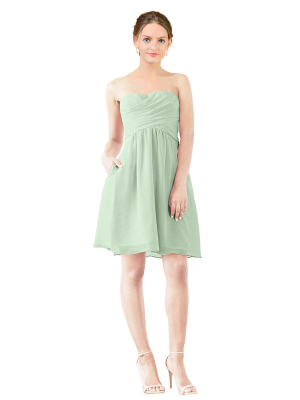 Affordable Bridesmaid Dress Avery Short A-Line Strapless Sweetheart Chiffon Sage Bridesmaid Dress Knee Length Open Back Sleeveless 174030