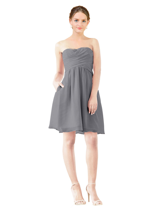 Affordable Bridesmaid Dress Avery Short A-Line Strapless Sweetheart Chiffon Slate Grey Bridesmaid Dress Knee Length Open Back Sleeveless 174030