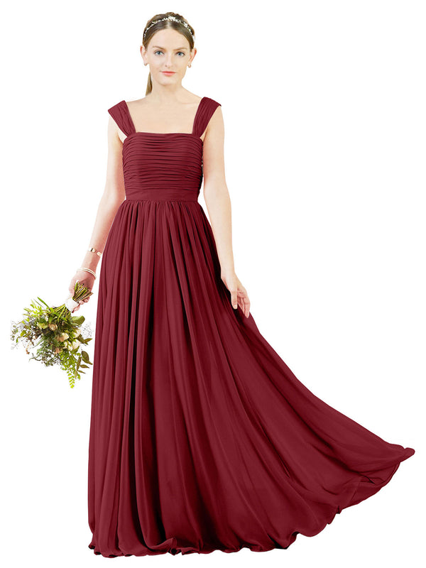 Affordable Bridesmaid Dress Sofia Long A-Line Square Chiffon Burgundy Bridesmaid Dress Floor Length Open Back Sleeveless 174031
