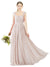 Affordable Bridesmaid Dress Sofia Long A-Line Square Chiffon Cream Pink Bridesmaid Dress Floor Length Open Back Sleeveless 174031