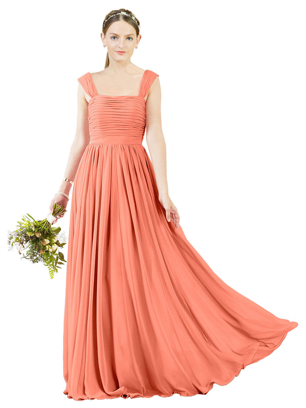 Affordable Bridesmaid Dress Sofia Long A-Line Square Chiffon Coral Bridesmaid Dress Floor Length Open Back Sleeveless 174031