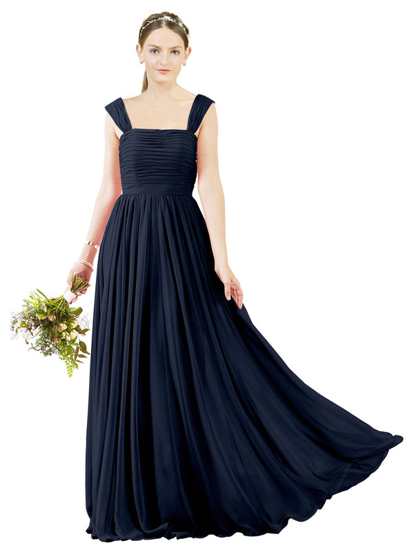 Affordable Bridesmaid Dress Sofia Long A-Line Square Chiffon Dark Navy Bridesmaid Dress Floor Length Open Back Sleeveless 174031