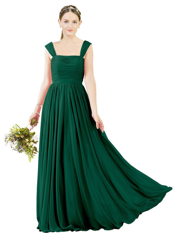 Affordable Bridesmaid Dress Sofia Long A-Line Square Chiffon Ever Green Bridesmaid Dress Floor Length Open Back Sleeveless 174031