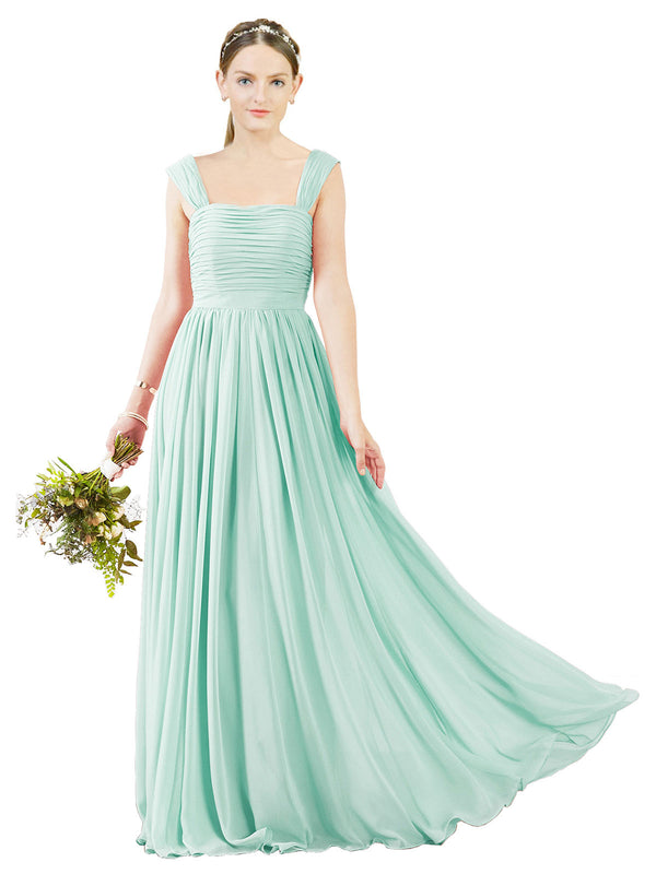 Affordable Bridesmaid Dress Sofia Long A-Line Square Chiffon Mint Green Bridesmaid Dress Floor Length Open Back Sleeveless 174031