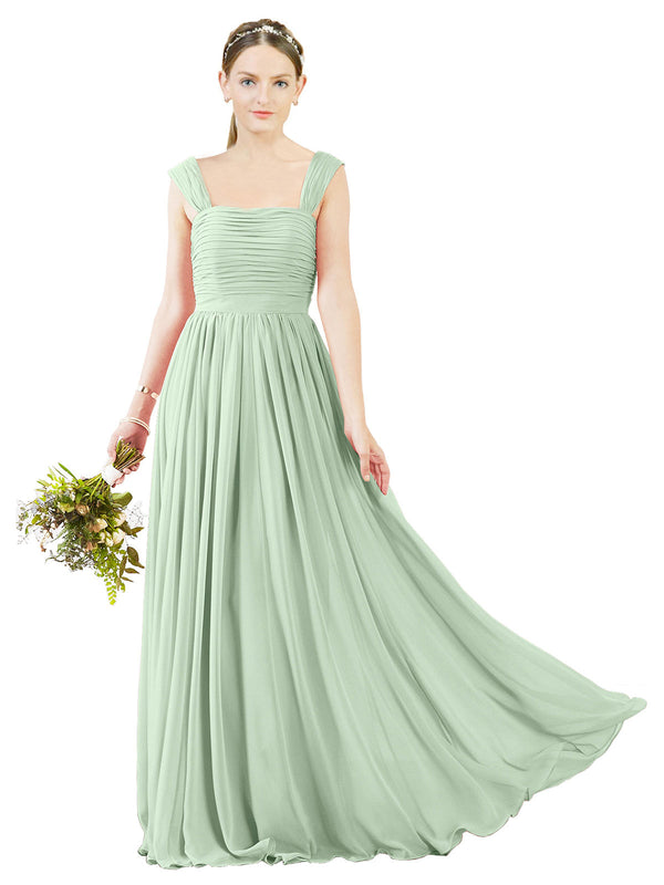 Affordable Bridesmaid Dress Sofia Long A-Line Square Chiffon Sage Bridesmaid Dress Floor Length Open Back Sleeveless 174031