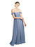 Affordable Bridesmaid Dress Aria Long A-Line Off the Shoulder Sweetheart Chiffon Dusty Blue Bridesmaid Dress Floor Length Open Back Sleeveless 174036