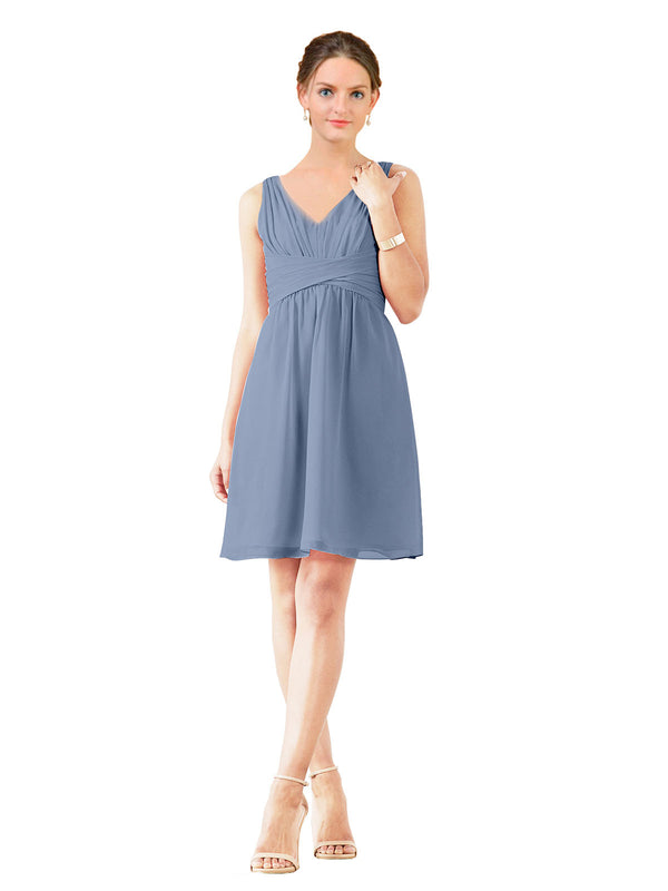 Affordable Bridesmaid Dress Grace Short A-Line V-Neck Chiffon Dusty Blue Bridesmaid Dress Knee Length Sleeveless 174037