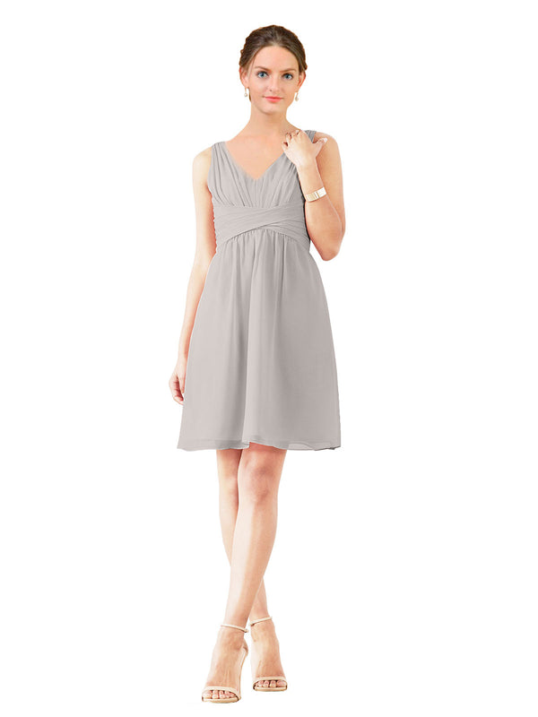 Affordable Bridesmaid Dress Grace Short A-Line V-Neck Chiffon Oyster Silver Bridesmaid Dress Knee Length Sleeveless 174037