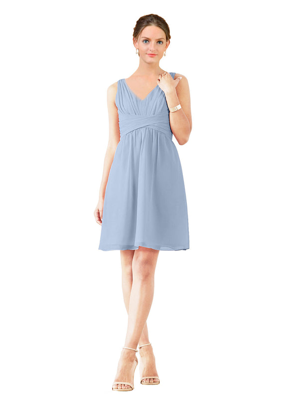 Affordable Bridesmaid Dress Grace Short A-Line V-Neck Chiffon Periwinkle Bridesmaid Dress Knee Length Sleeveless 174037