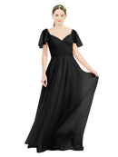 Affordable Bridesmaid Dresses Riley Long A-Line V-Neck Tulle Black Bridesmaid Dress Floor Length 174041