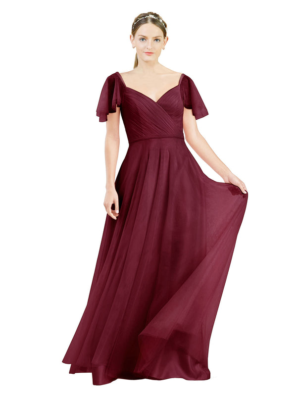 Affordable Bridesmaid Dresses Riley Long A-Line V-Neck Tulle Burgundy Bridesmaid Dress Floor Length 174041