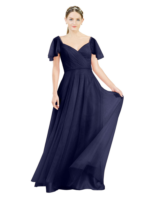 Affordable Bridesmaid Dresses Riley Long A-Line V-Neck Tulle Navy Blue 21 Bridesmaid Dress Floor Length 174041
