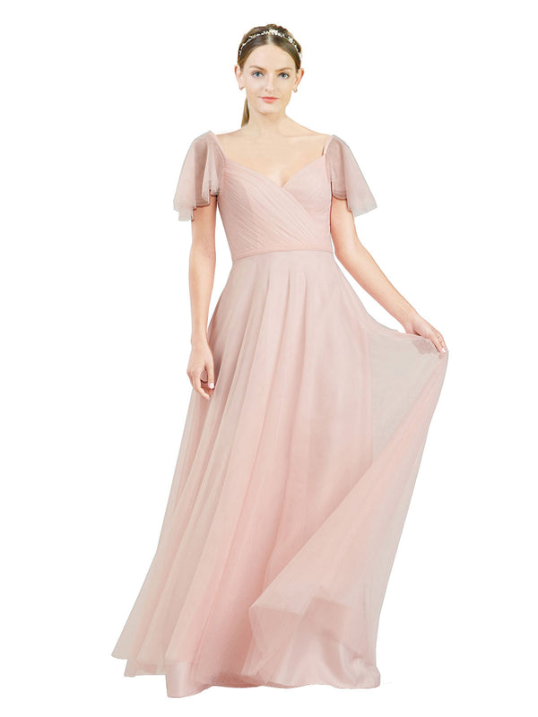 Affordable Bridesmaid Dresses Riley Long A-Line V-Neck Tulle Pink Bridesmaid Dress Floor Length 174041