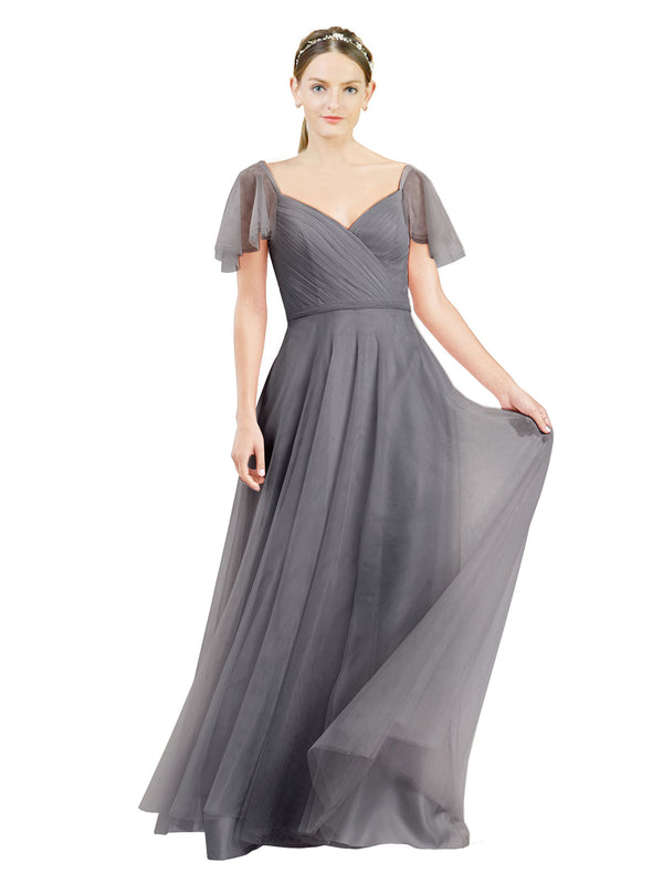 Affordable Bridesmaid Dresses Riley Long A-Line V-Neck Tulle Slate Grey 127 Bridesmaid Dress Floor Length 174041