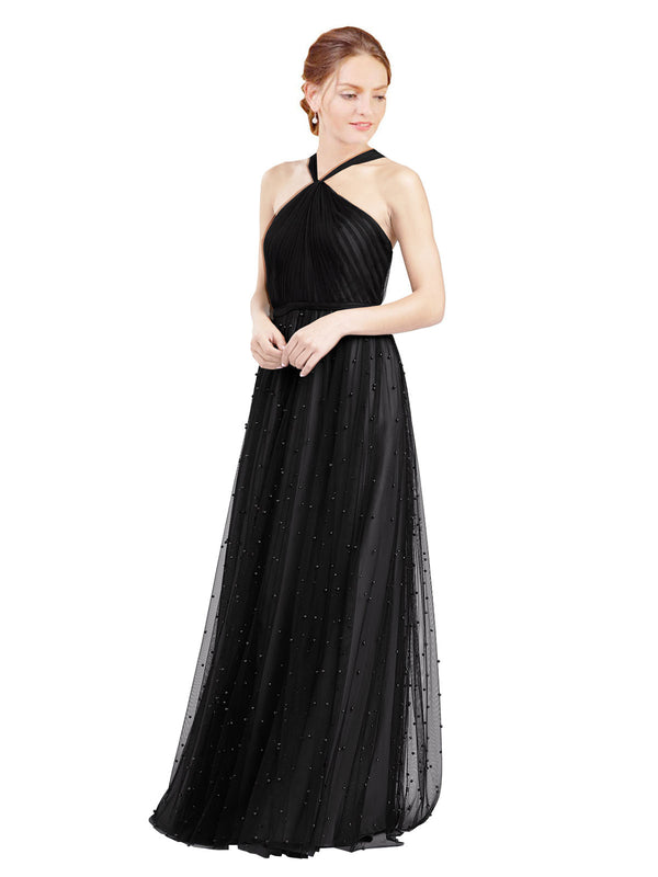 Affordable Bridesmaid Dresses Nora Long A-Line Halter Tulle Black Bridesmaid Dress Floor Length Sleeveless 174044