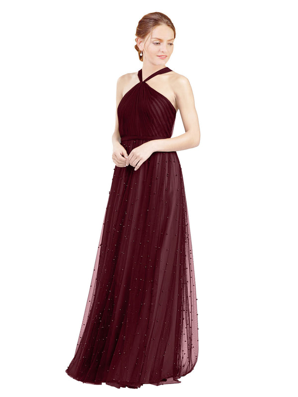 Affordable Bridesmaid Dresses Nora Long A-Line Halter Tulle Burgundy Bridesmaid Dress Floor Length Sleeveless 174044